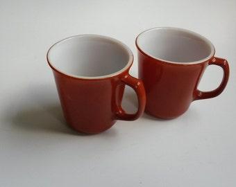 Corning coffee mugs, vintage rust colored Corning mugs, milk glass mugs