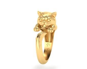 Exotic Shorthair cat ring 14k gold