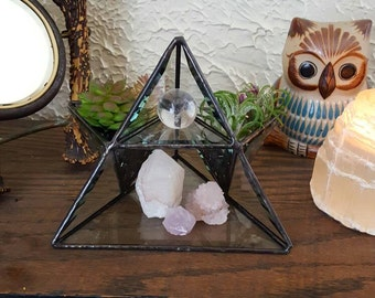 Stained Glass Pyramid Air Planter. Succulent Planter.  Display Shelf. Jewelry Storage. Glass Jewelry Display Shelf. Housewarming Gift.