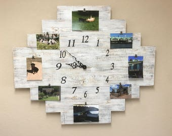 Rustic clock, Picture memory board, Picture collage, Memory board, Wooden wall decor, Wooden decor, Wooden decorations, Wall decorations