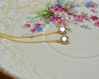 Gold Threader Earrings, Cz Drop Earrings, Long Gold Earrings, Gold Filled Jewelry, Sparkly Earrings, Cubic Zirconia Drop Earrings, Wife Gift
