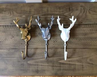 ON SALE/ Deer Wall Hook/Deer Hook/Towel Hook/Hunting /Coat Hook/Wall Hook Set/Rustic/Woodland/Antler/Cast Iron hook/Trendy/Rustic Hook