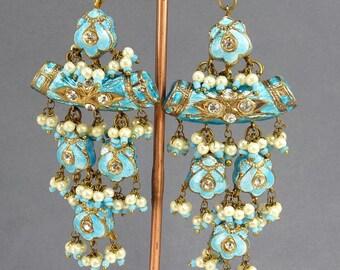 Ethnic Tribal Earrings Blue Enamel Chandelier Mughal Style