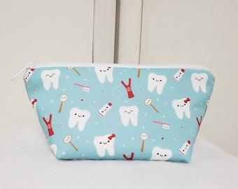 Dental Hygiene Bag, Zipper Pouch for Dental Hygiene Supplies, Dental Travel Pouch, Cosmetic Bag, Medication Bag, Gadget Bag, Nylon Lining.