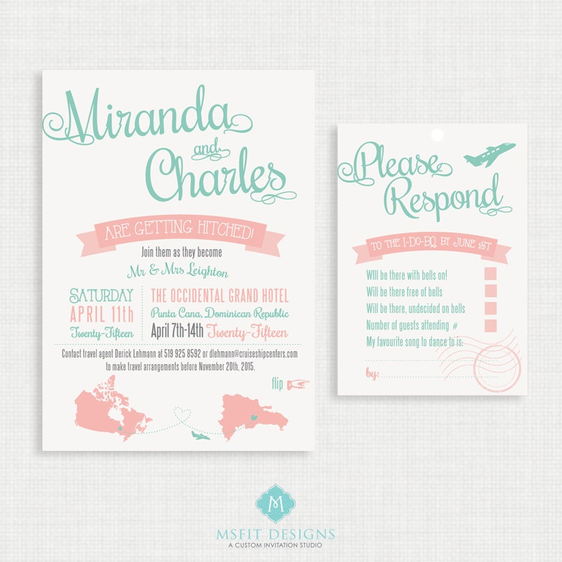 Printable wedding invitation with RSVP Card- Destination Wedding ...