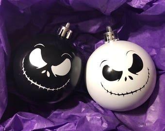 Jack Skellington Ornaments Nightmare Before Christmas Shatterproof Tree Ornament Set of Two