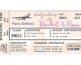 DIY Printable Invitation Boarding Pass Invitation  Party in Paris invitation bride party invitation Airline Ticket invite printable download