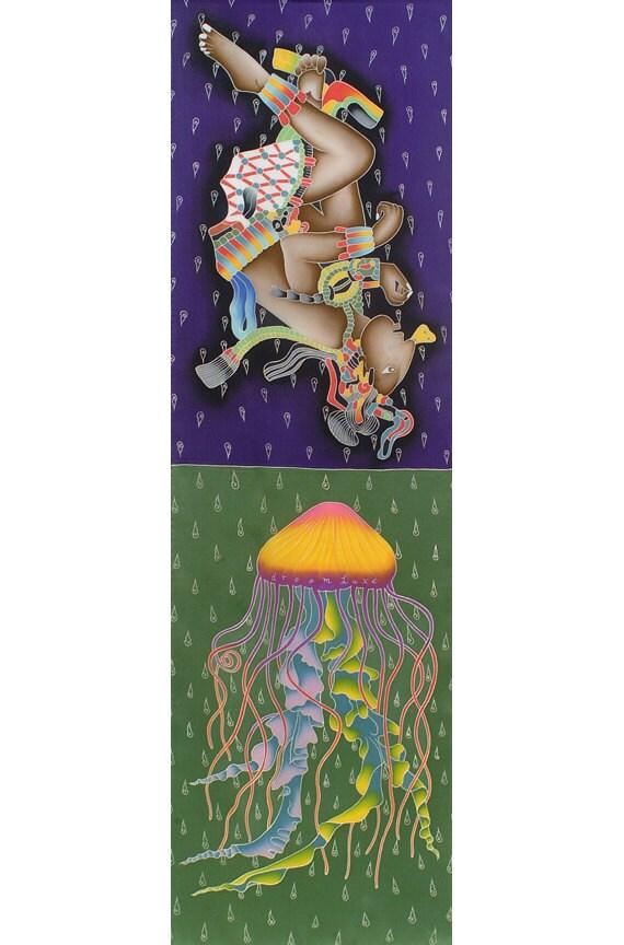 Mayan ruler Pacal Votan and Jellyfish beautiful hand made scarf.