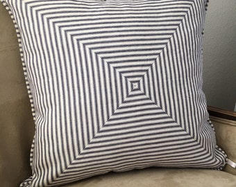 Blue Stripe Pillow Cover 18 x 18|20 x 20|22 x 22|24 x 24 inch Navy Blue Pillow Cover Ticking Stripe Pillow Cover Farmhouse Home Decor