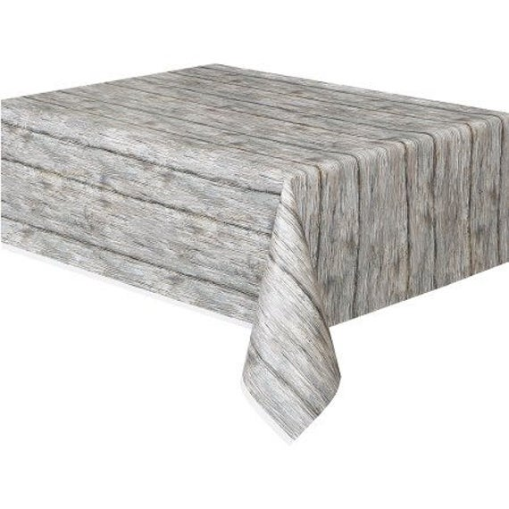 Rustic Wood Look Plastic Tablecover Faux Wood Table Cover
