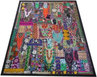 "Indian bedding ""mystique rainbow"" vintage saree bedspread, hippie home decor, bohemian bedding patchwork quilt boho bedspread gypsy throw"
