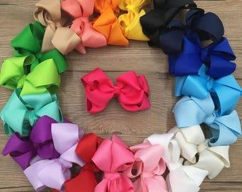 "U CHOOSE | 4"" Hair bow clip baby girl grosgrain hairbow headband toddler newborn Medium Bows"