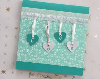 Romance card or Valentine LOVE turquoise/white