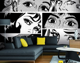 Self-adhesive Wallpaper-Pop Art-black and white eyes-yellow BUS