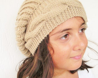 Mom & Me Instant Download Knitting Pattern hat  3 Sizes Girl   Hat pattern   Hat PDF - Cable Knit hat  Pattern - Slouchy  Hat   Knit Pattern