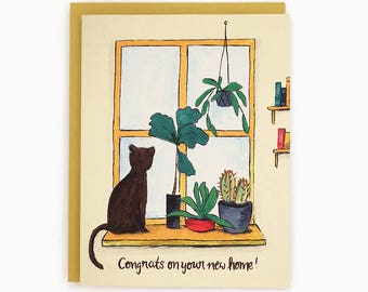 New Home - Congrats on your new home! - Window with plants and cat