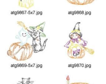 Halloween-Colorline-Blocks 5x7 ( 10 Machine Embroidery Designs from ATW ) XYZ17H