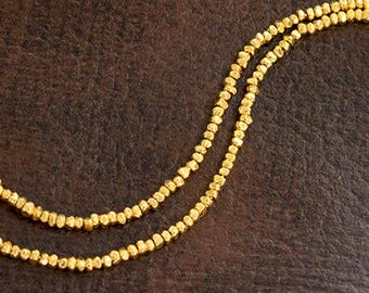 """220 of  Karen hill tribe 24k Gold Vermeil Style Faceted Seed Beads 1.2 mm. 8.5 """" ,  tiny beads  :vm1094"""