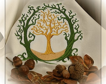 Magical Old Oak Embroidered Altar Cloth Stitched on White or Olive Green Fabric.