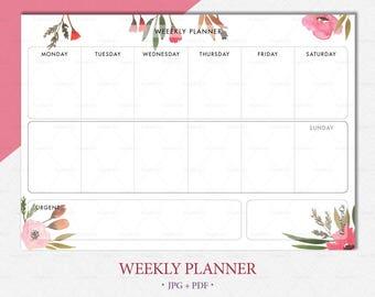 WEEKLY PLANNER PRINTABLE A4 download planner Week planner schedule printable planner A4 week Printable weekly planner pdf schedule A4 page