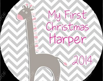 Gray and Pink Giraffe Chevron Baby Girl First Christmas Ornament Personalized for you Snowflake Shaped or Round Disc