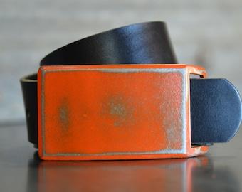 Orange FOUNDATION SET Belt Buckle & Leather Belt by Fosterweld