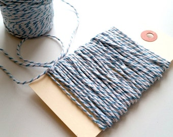 Blue & White 12 Ply Bakers Twine - 10 Yards for packaging, artwork, collage, assemblage
