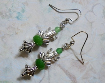 Green and Silver Frog Earrings (2935)
