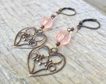 Soft heart peach czech glass and brass heart earrings