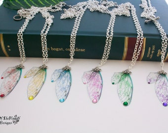 Fairy wing necklace. Glitter jewelry. Fantasy necklace. Available in six colours