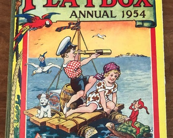 PLAYBOX ANNUAL 1954 ~ Story Book ~ Children's Book ~ Illustrated Book ~ Vintage Book ~ Scrapbooking ~ Assemblage ~ Advertising ~ Collectible