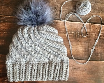 Crochet and knitted bulky spiral-made hat with fur pompom, adult hat, fur pompom hat