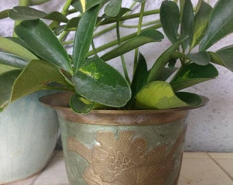 Small brass green enameled plant pot