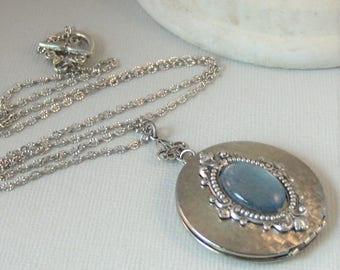 Moonrise,Blue Moon,Moon Locket,Blue STone,Moon,Locket,Moon Necklace,Cosmos,Stars,Vintage Locket,Vintage Jewelry,vintageValleygirldesigns