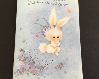 Vintage Happy Easter Greeting Card, fuzzy white bunny, hallmark