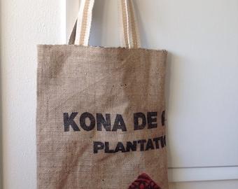 Burlap Tote Bag/ Market Tote/ Beach Bag/ Kona Coffee Sack