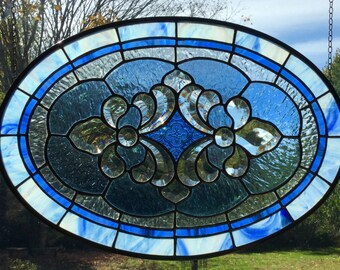 Blue Nebula stained glass bevel cluster oval hanging panel