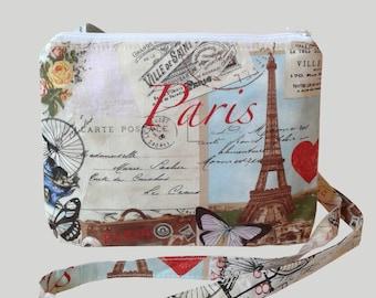 Small Cross Body Bag/ Messenger Bag/ Paris Print.