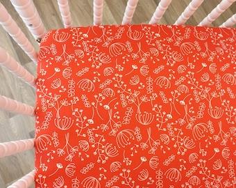 Crib Sheet- Baby Sheet- READY TO SHIP--Happy Home Red Flower Crib Sheet- Fitted Crib Sheet- Bedside Journal Candid Crib Sheet