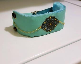 The Empress by (JJewelerDesign) Turquoise Genuine Leather Bracelet Cuff