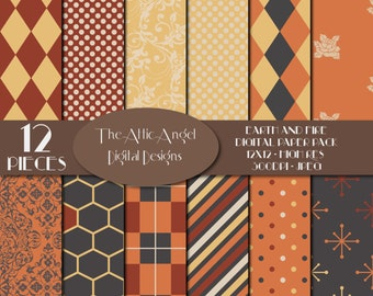 SALE - Autumn Digital Paper, Retro Style Paper, Vintage Orange, Yellow, Black, and Red, Commercial Use - CU, Instant Download