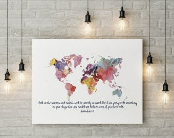 World map decor etsy popular items for world map decor gumiabroncs Gallery