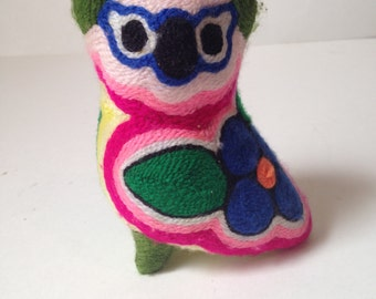 Vintage Bright Yarn Covered Owl - Folk Art