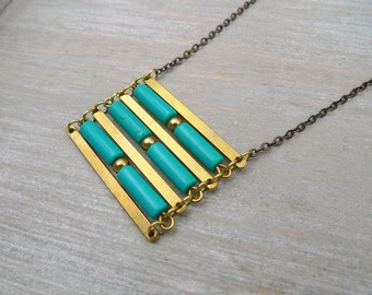 Long Turquoise necklace, Turquoise and raw brass necklace, Geometric necklace, Gemstone necklace, long statement necklace