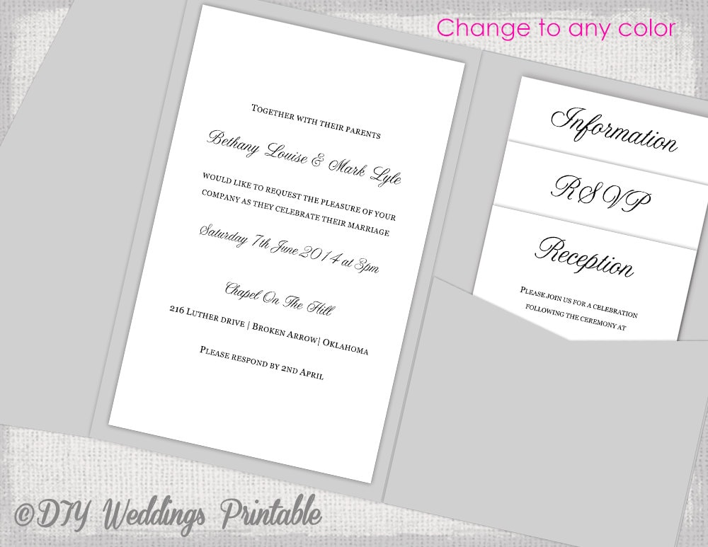 Pocket Wedding Invitations Template DIY pocketfold wedding