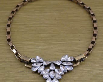 CLOSEOUT Antique Gold Rhinestone Statement Necklace - Chunky Rhinestone Pendant Necklace - Antique Gold Box Chain Link Necklace