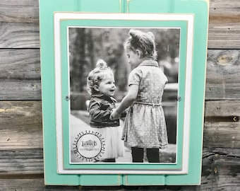 """Mint green and white picture frame holds 8""""x10"""""""