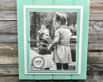 "Mint green and white picture frame holds 8""x10"""