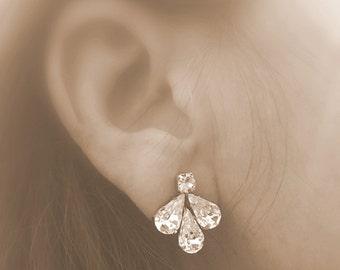 Clear swarovski bridal earrings, bridesmaids wedding accessories, vintage style sparkly earrings, stud earrings ,