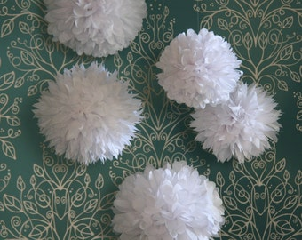 Wedding White - 5 Tissue Pom Poms For Wedding Reception Decoration and Bridal Shower